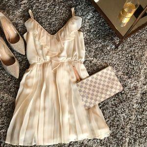 BCBG Pleated white chiffon dress